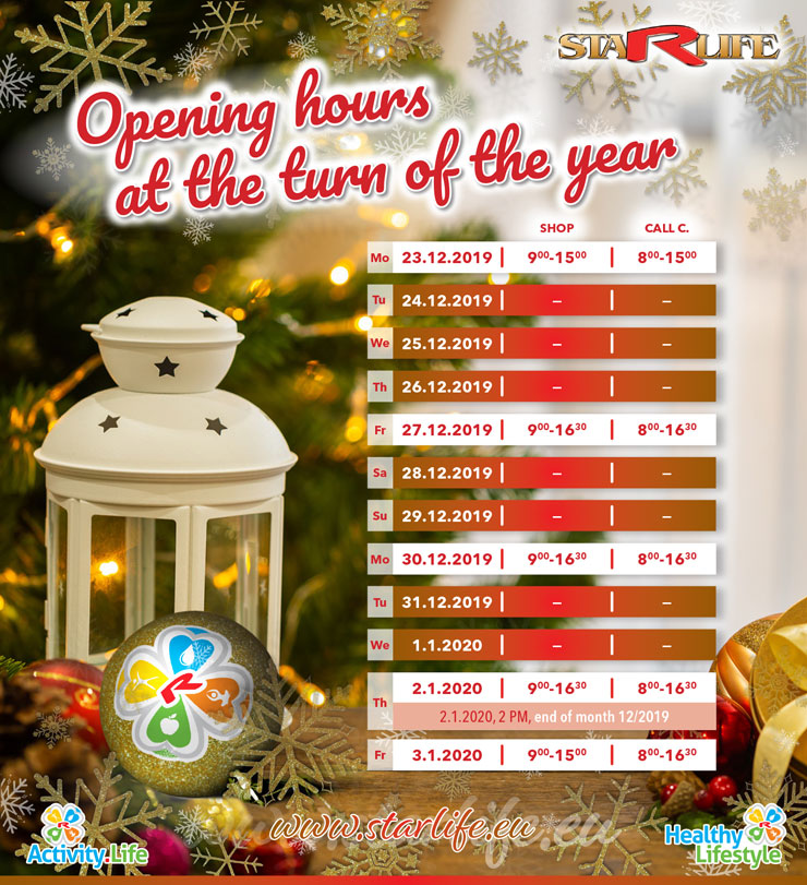 Opening hours at the turn of the year 2019-2020