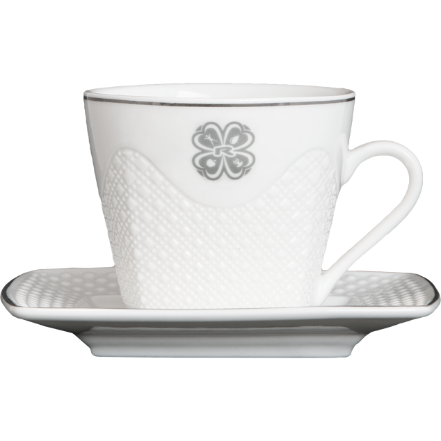 Enlarge picture CUP, 125 ml + PLATE, WHITE CERAMIC